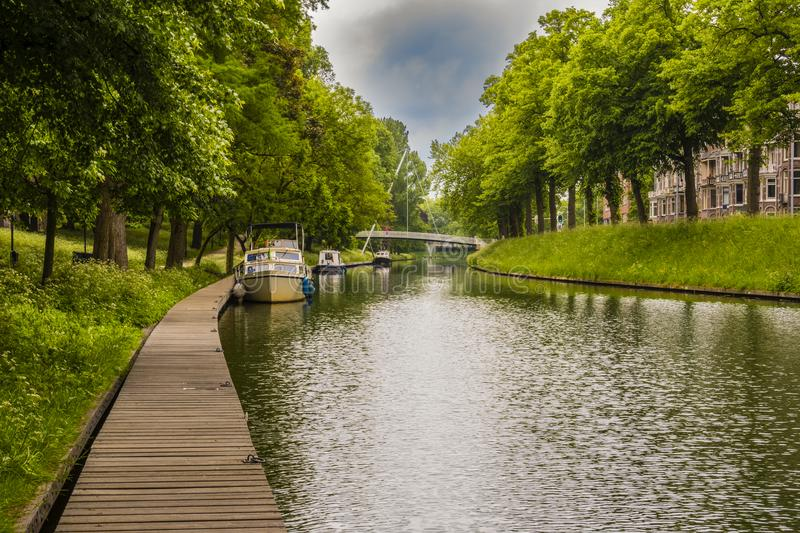 Landscape on a canal in the city of Utrecht. netherlands royalty free stock images
