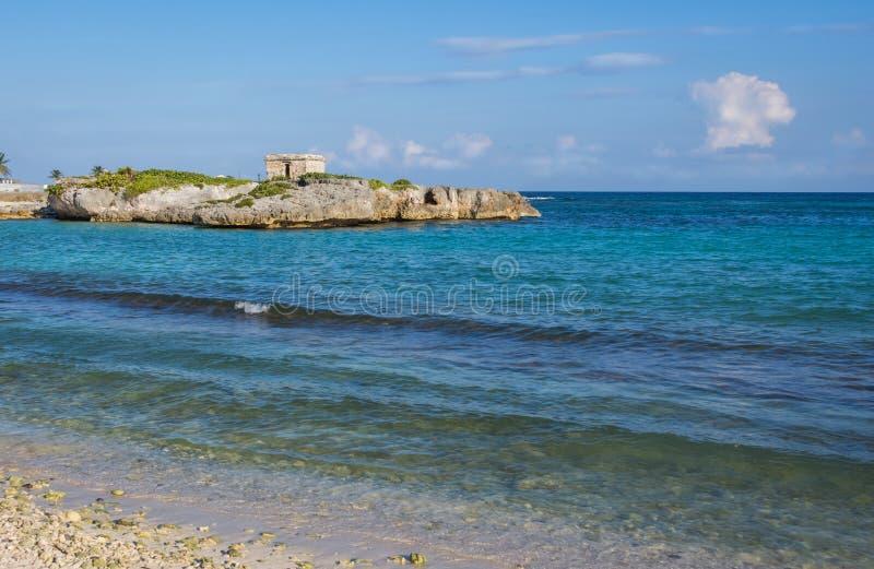 Landscape of Caribbean coast and Mayan Ruins. Quintana Roo, Mexico, Cancun, Riviera Maya royalty free stock photography
