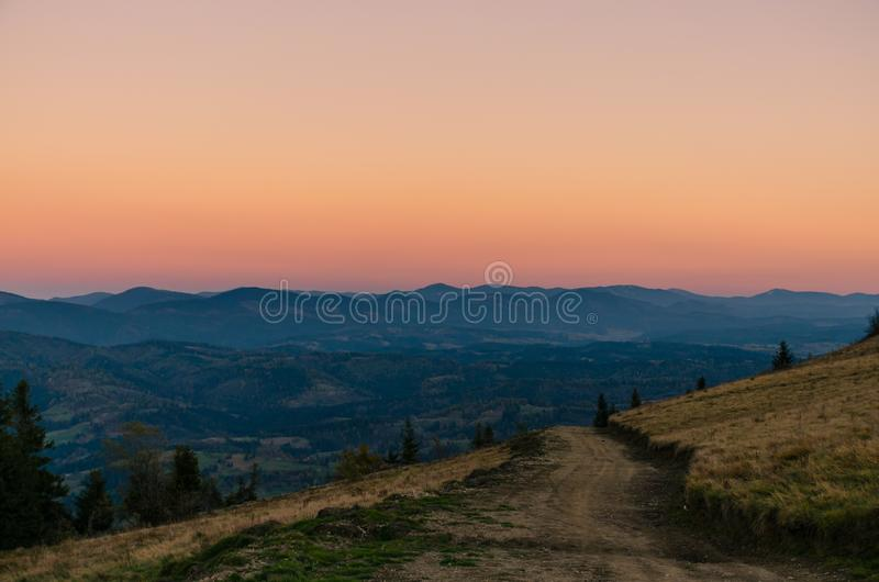 Landscape with carpathian mountains in the spring season. Carpathian mountains in sunny day in the autumn season ukraine landscape forest beautiful green nature royalty free stock image