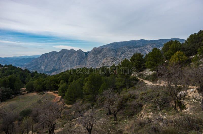 Landscape of Castellets Ridge area near Puig Campana, from near Altea / Benidorm, Spain.  royalty free stock photo