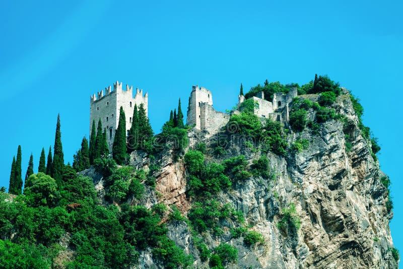 Landscape with Castello di Arco on rock near Garda lake royalty free stock photo