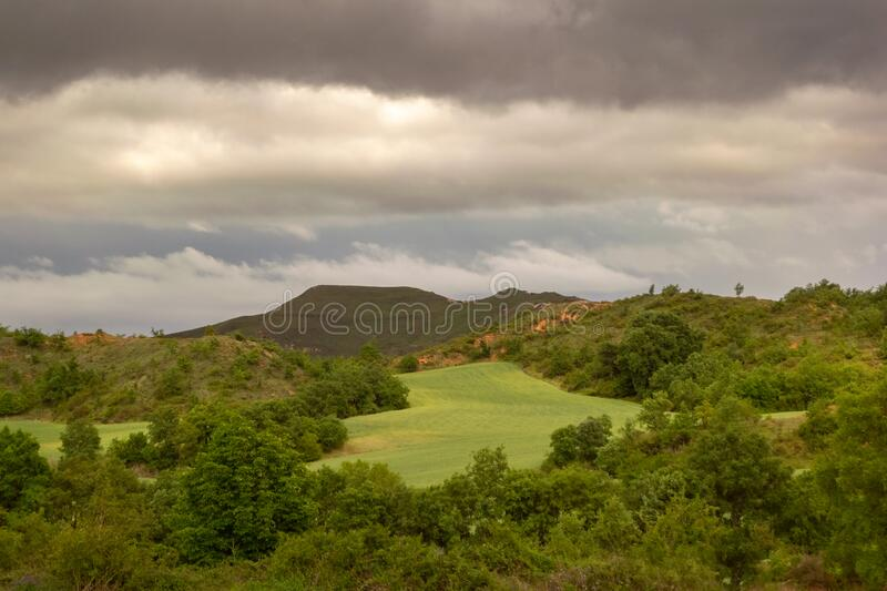 Landscape of Castilla and Leon with cloudy sky. Burgos, Spain.  royalty free stock image