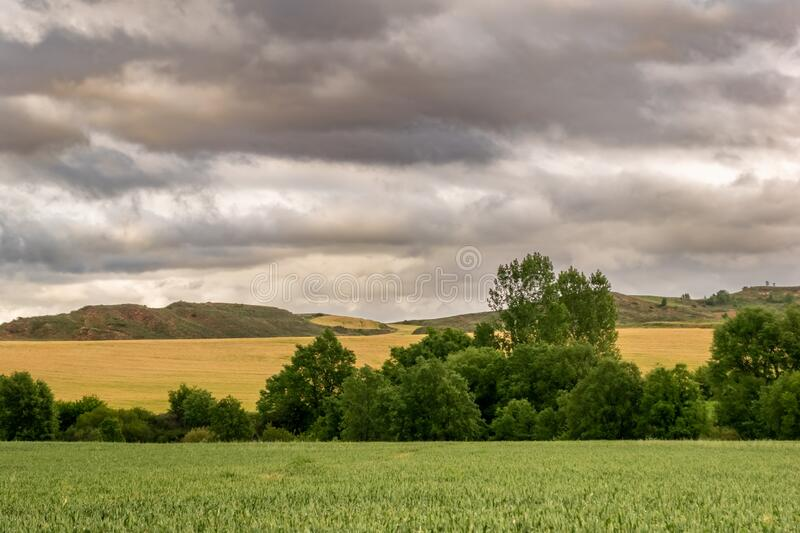 Landscape of Castilla and Leon with cloudy sky. Burgos, Spain.  stock images