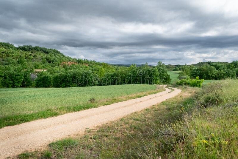 Landscape of Castilla and Leon with cloudy sky. Burgos, Spain.  stock photos
