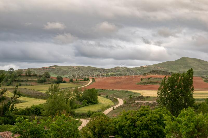 Landscape of Castilla and Leon with cloudy sky. Burgos, Spain.  stock photography