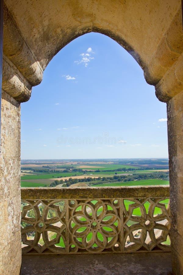 Landscape through castle gothic window, Spain stock photo