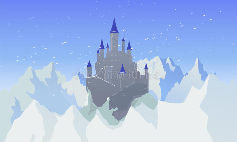 Landscape With Castle And Mountaines With Snow stock illustration