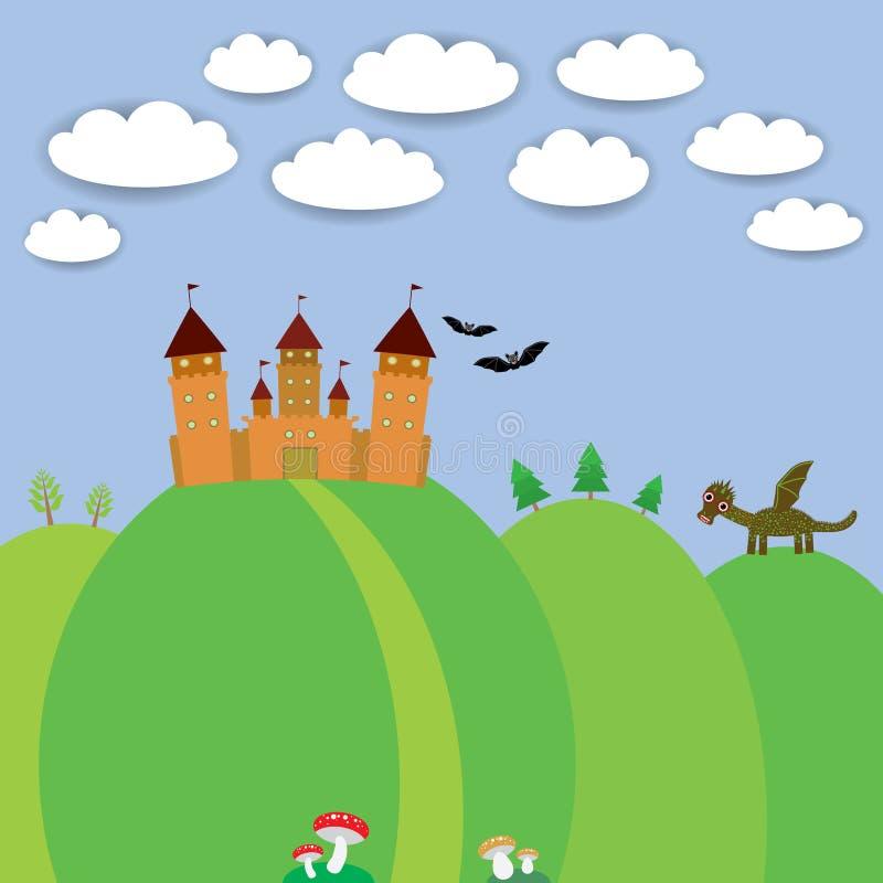 Landscape with castle wizard, Cartoon Dragon, bats stock illustration