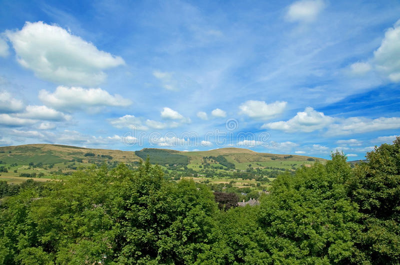 Landscape at castleton. A view at castleton in derbyshire in the united kingdom royalty free stock photo