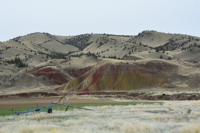 Landscape of Oregon`s Painted Hills Nat`l Monument stock photos