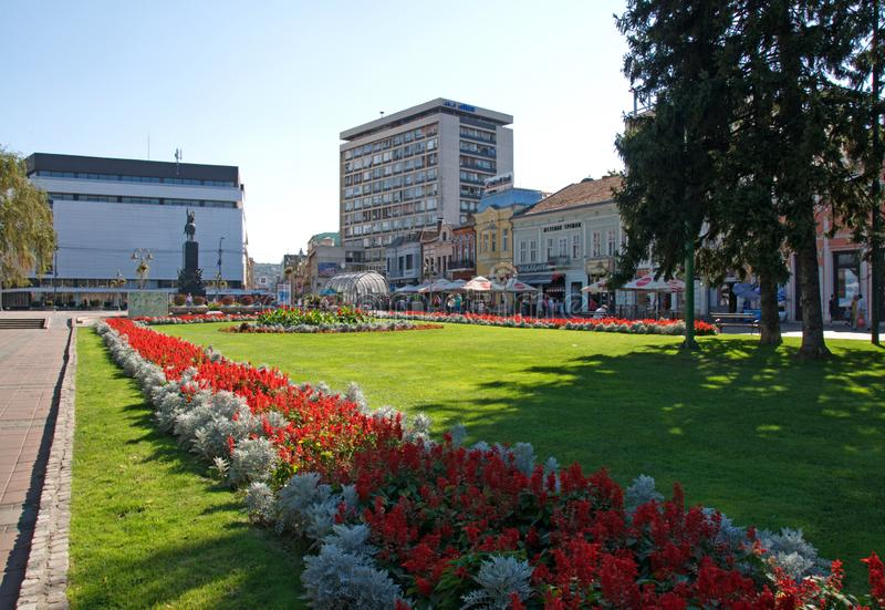 Landscape of the central square in Niš, Serbia. With the beautiful city park in a summer day royalty free stock photo