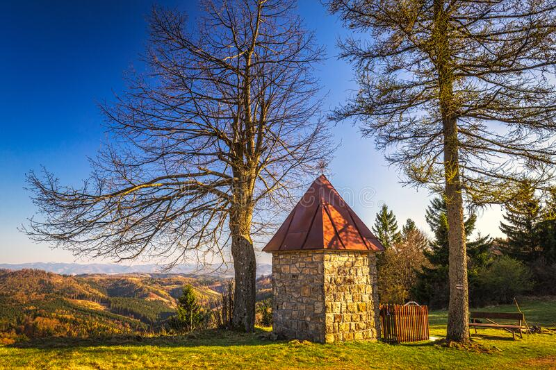 Landscape with chapel above the Dlhe Pole village at Kysuce. Region in the north of Slovakia, Europe royalty free stock photo