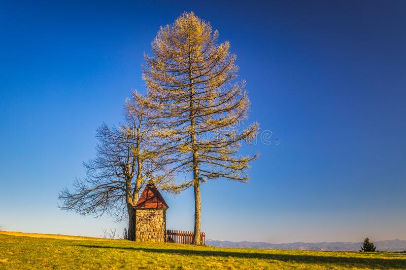 Landscape with chapel above the Dlhe Pole village at Kysuce. Region in the north of Slovakia, Europe stock image