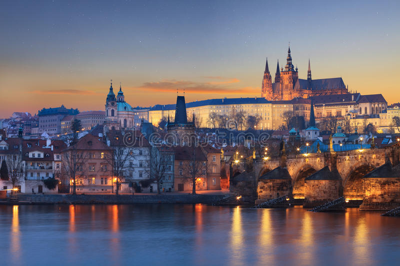 Landscape of Charles Bridge in Prague stock photos