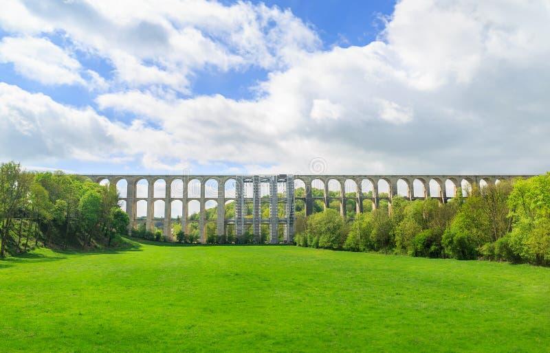Landscape of Chaumont Viaduct, France. Important railroad line Paris-Basel.  royalty free stock photos