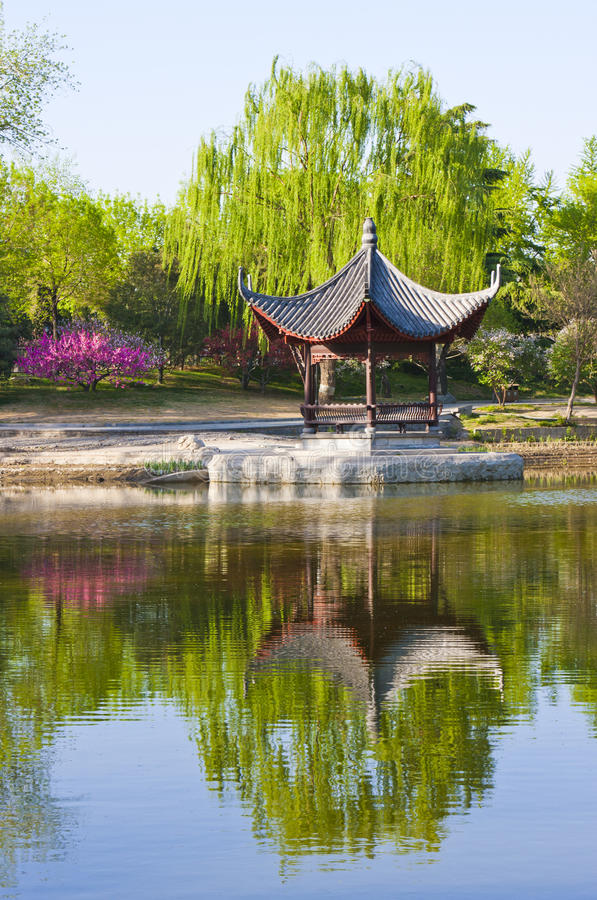 Landscape of Chinese pavilion. Chinese pavilion in park of Beijing stock images