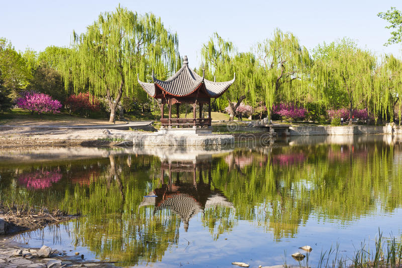 Landscape of Chinese pavilion. Chinese pavilion in park of Beijing royalty free stock photography