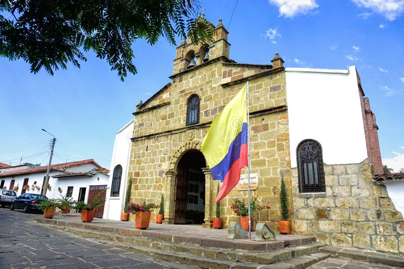 Landscape of Church with Flag in Pinchote, Colombia royalty free stock photo