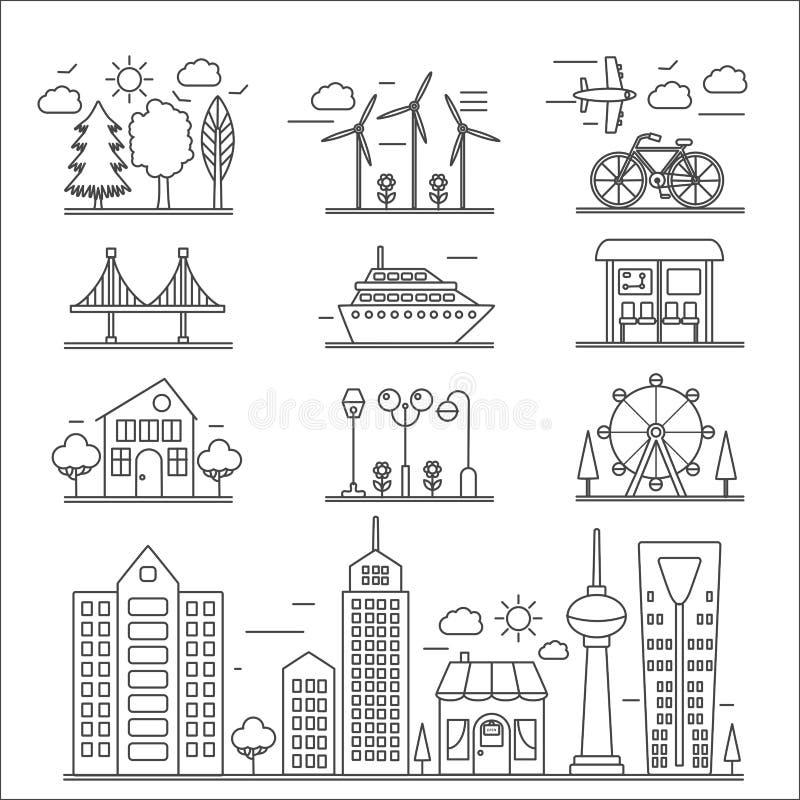 Landscape city buildings thin line ourline linear design icons elements set. Graphic design city constructor. royalty free illustration