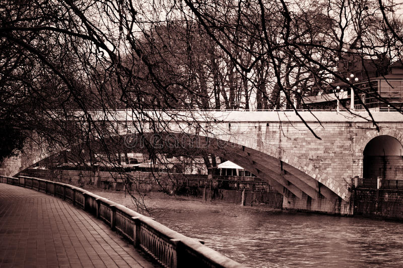 Landscape In The City Park With River And Bridge Stock Photo