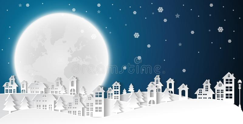 Landscape City Village in winter season christmas and happy new year urban. Paper art style royalty free illustration