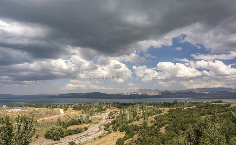 Landscape and cityscape ad sea and sky cloudy royalty free stock photography
