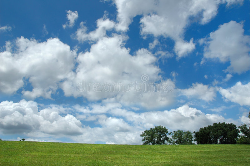 Landscape with clouds and tree. S on a horizontal format stock photography