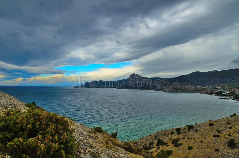 Landscape on the coast of Black sea in Crimea, Sudak. stock image