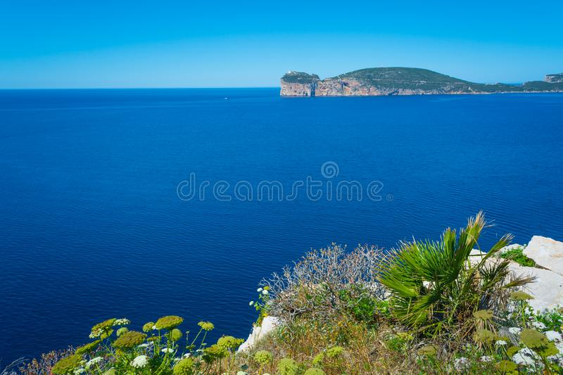 Landscape of the coast of Capo Caccia, in Sardinia. Viewed from Punta Giglio, sea, rock, travel, water, blue, coastline, alghero, tourism, shore, nature, sky royalty free stock photo