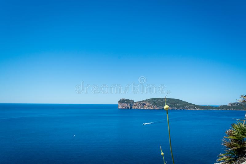Landscape of the coast of Capo Caccia, in Sardinia. Viewed from Punta Giglio, sea, rock, travel, water, blue, coastline, alghero, tourism, shore, nature, sky stock images