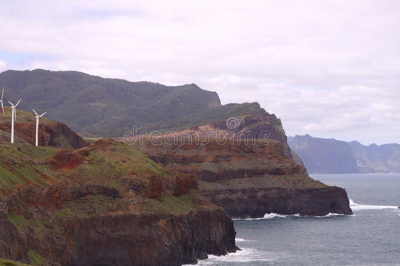 Landscape of the coast of the island of Madeira on a cloudy day. stock image