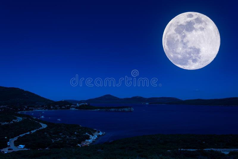 Landscape of the coast at night stock photo