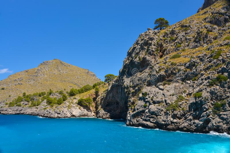Landscape on the coast of Palma de Mallorca island in Spain.  royalty free stock image