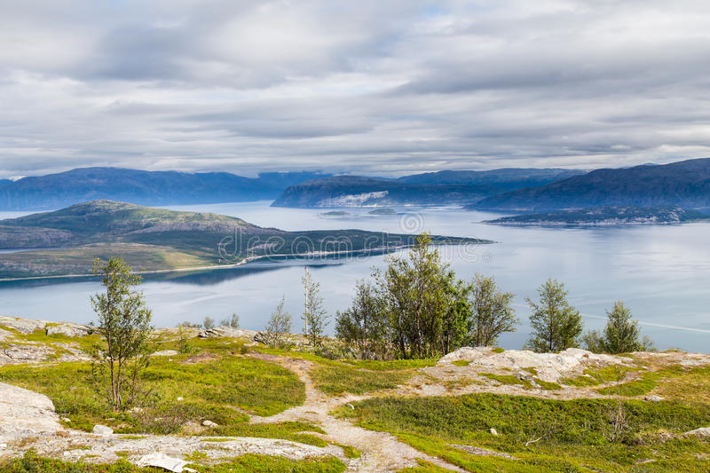 Landscape coast road E6 in northern Norway stock images