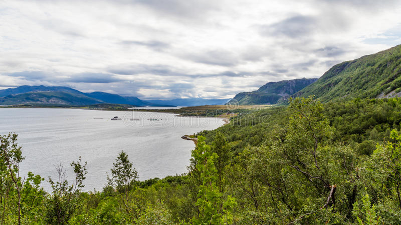 Landscape coast road E6 in northern Norway royalty free stock photo