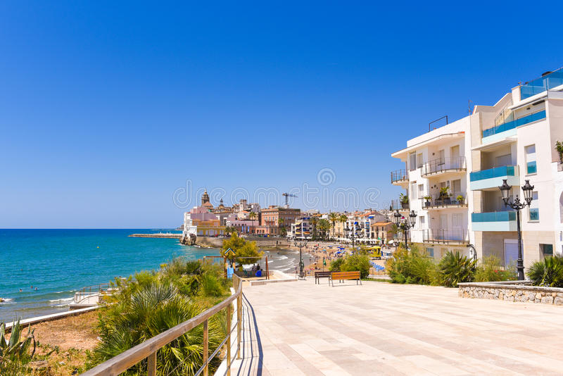 Landscape of the coastline in Sitges, Barcelona, Catalunya, Spain. Copy space for text. Landscape of the coastline in Sitges, Barcelona, Catalunya, Spain. Copy stock photo