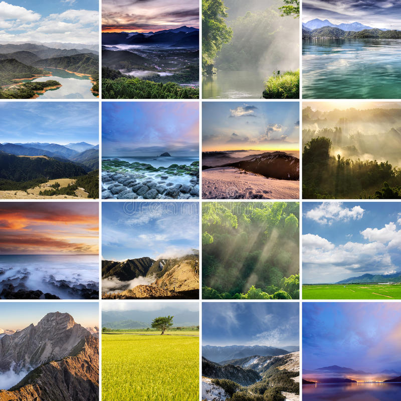 Landscape collection of Taiwan stock photo