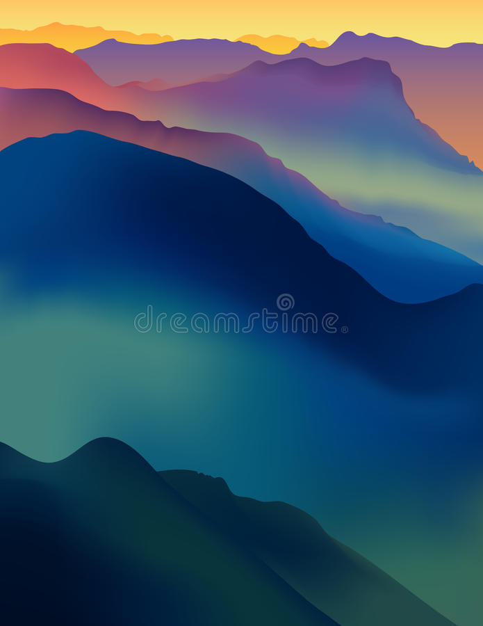 Landscape with colorful mountains at sunset or dawn. vector illustration