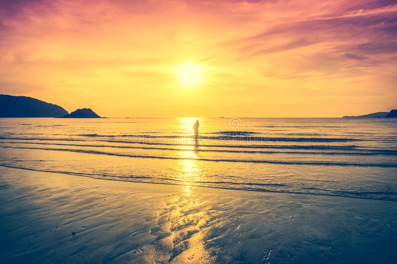 Landscape of colorful sky with sunlight over seascape. Serenity stock images