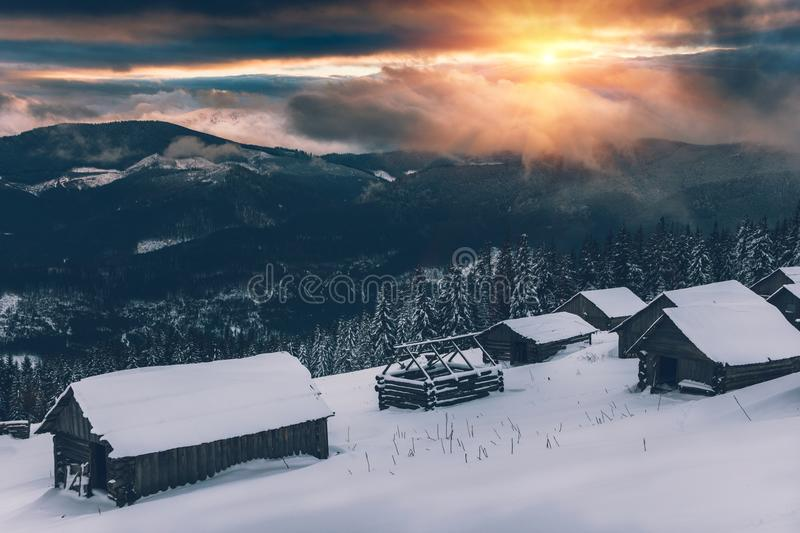 Landscape of colorful sunset in the winter mountains. stock photography