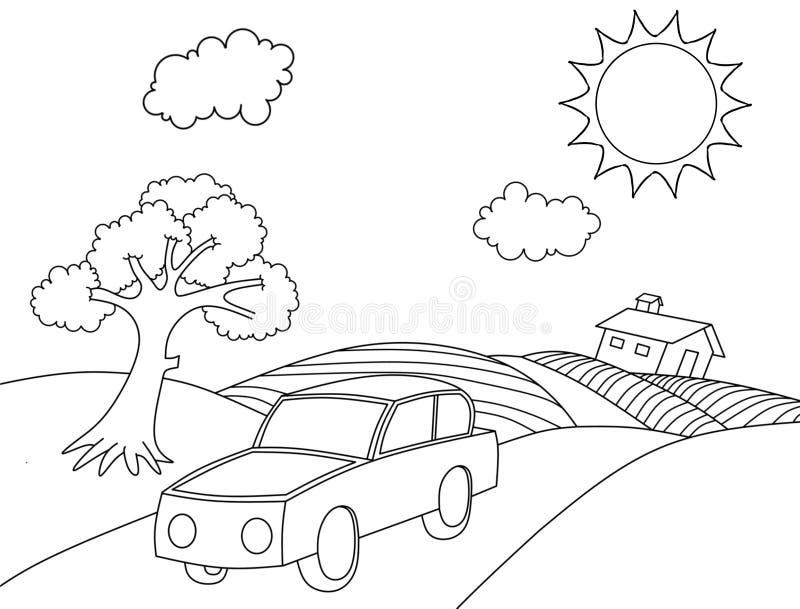 Landscape coloring book cartoon coloring page vector illustration