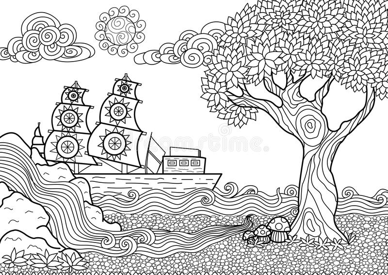 Landscape coloring book. Hand drawn seascape zentangle style for coloring book