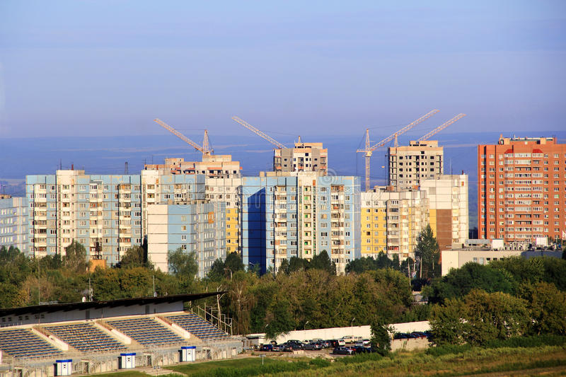 Landscape with construction site. And blue sky stock photos