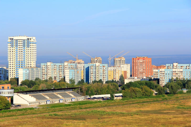 Landscape with construction site. And blue sky royalty free stock image