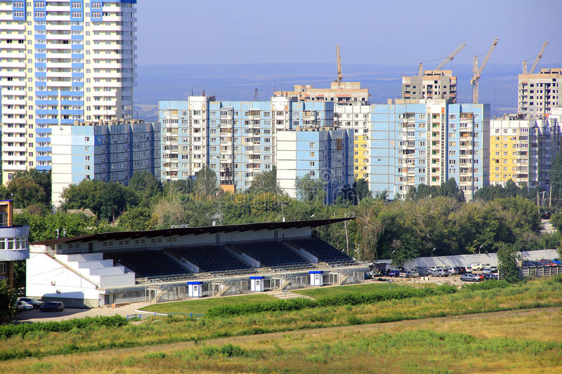 Landscape with construction site. And blue sky stock image