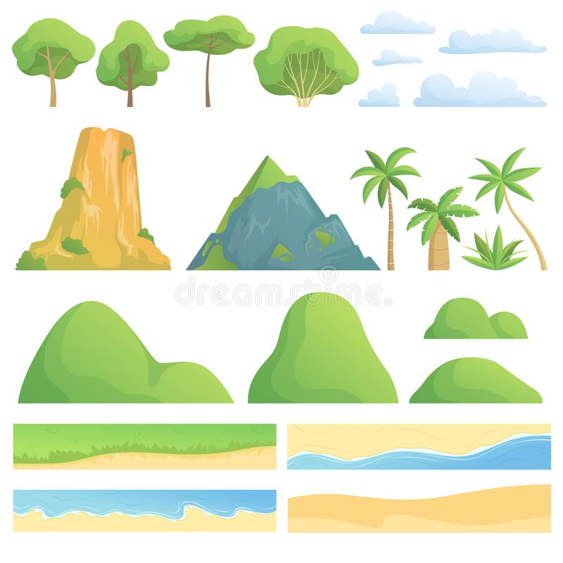 Landscape constructor. Creation kit with trees bushes mountains hills clouds coast sand and grass vector cartoon vector illustration