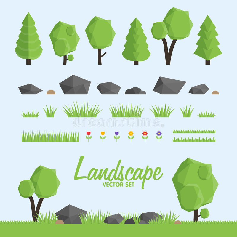 Free Landscape Constructor Icons Set. Trees, Stone And Grass Elements For Landscape Design. Stock Images - 68434064