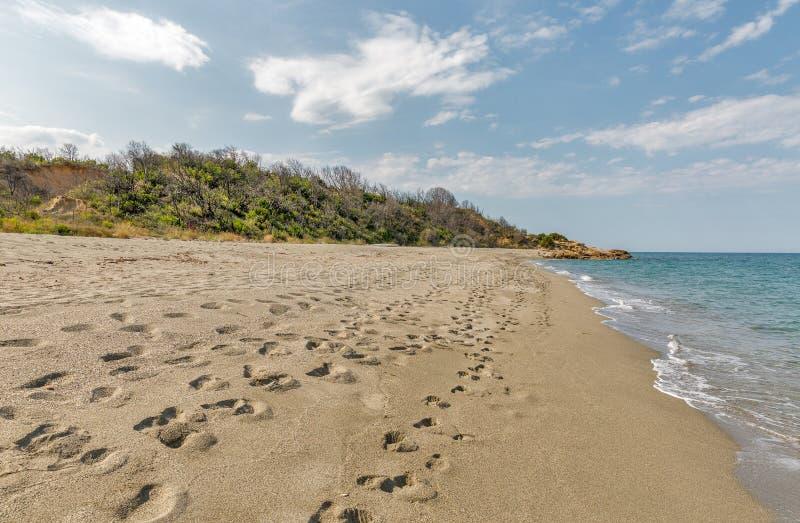 Bella Riva beach on the east of Corsica island, France. Landscape of Corsica island. Bella Riva beach on the east of island, France stock photo