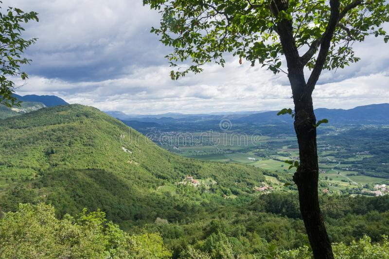 Countryside of Slovenia from St. Gabriel Mountain royalty free stock photography
