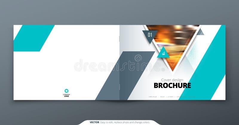 Landscape cover design. Teal corporate business rectangle cover template brochure, report, catalog, magazine. Modern stock illustration